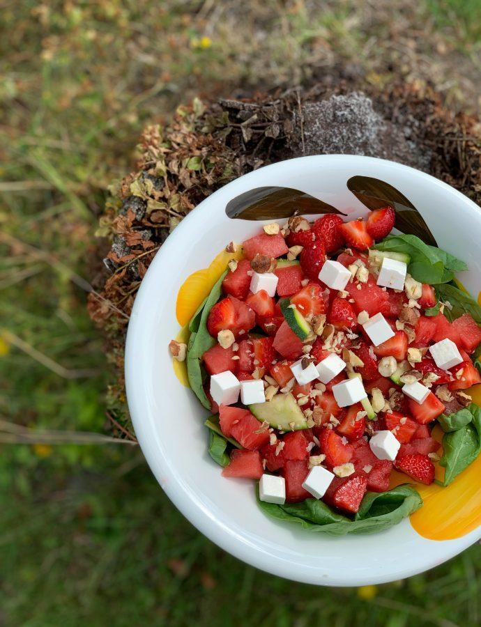 Sommersalat med jordbær og vandmelon