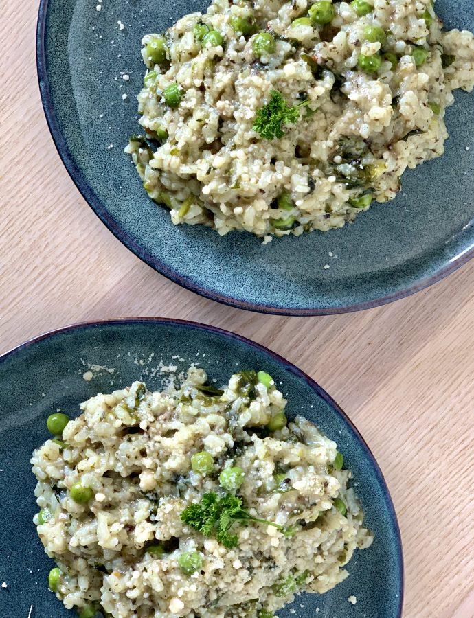 Grøn risotto med spinat og ærter