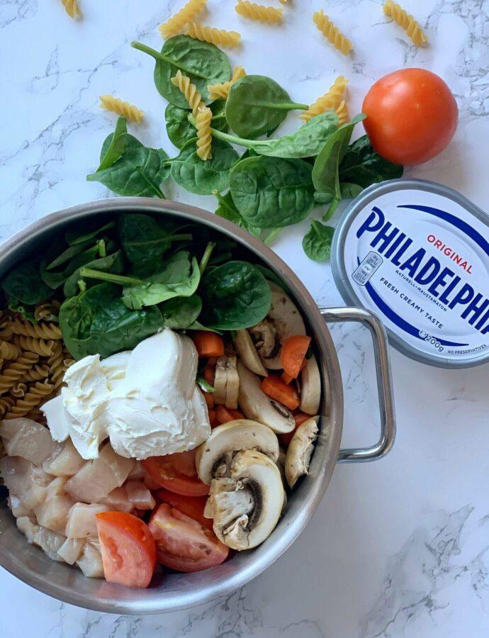 One pot pasta med kylling og Philadelphia