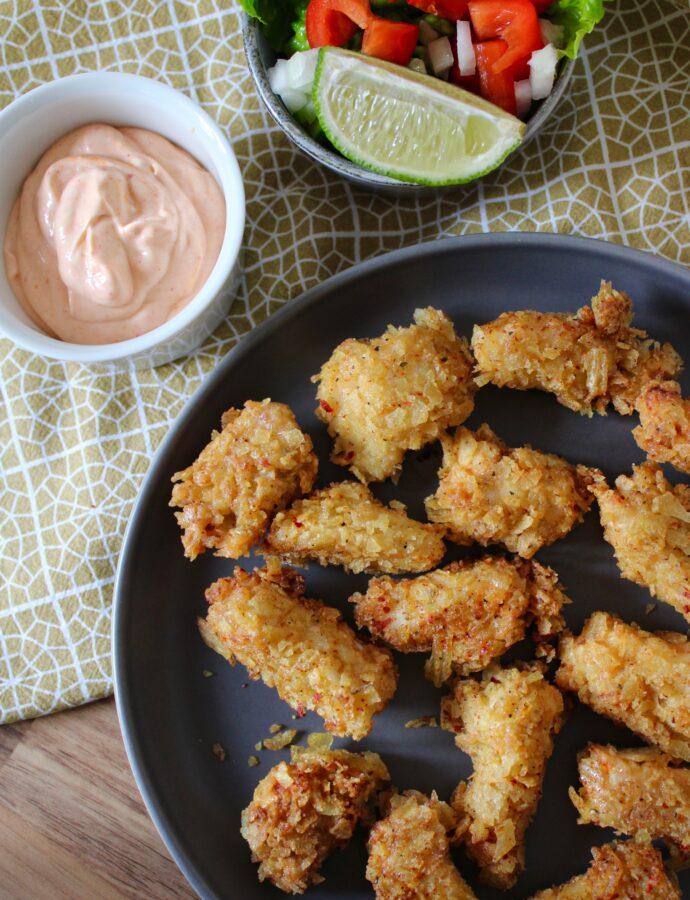 Crispy chicken med chips